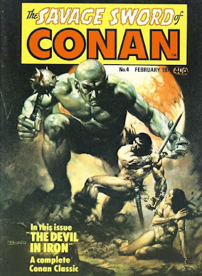 Marvel UK, Savage Sword of Conan #4, the Devil in Iron by Robert E Howard, in a boris vallejo cover, conan swings his sword as a giant with a mace heads towards him
