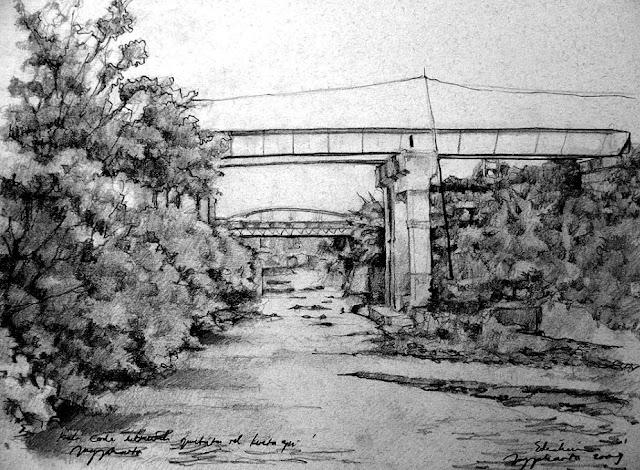 sketsa kali code di bawah jembatan rel kereta api
