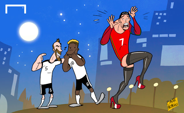 Fuchs and Alaba mock Cristiano Ronaldo's tight cartoon