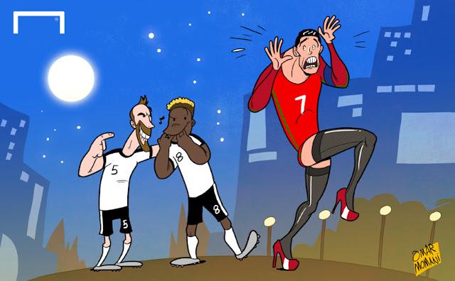 Fuchs and Alaba mock Cristiano Ronaldo's tight cartoon
