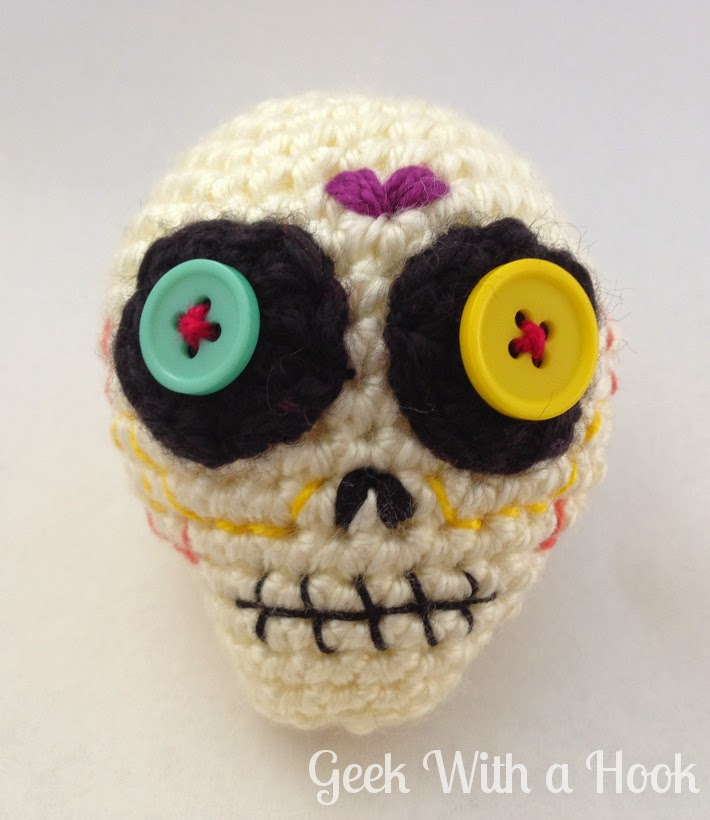 Geek With A Hook Day Of The Dead Sugar Skull Free Amigurumi Pattern