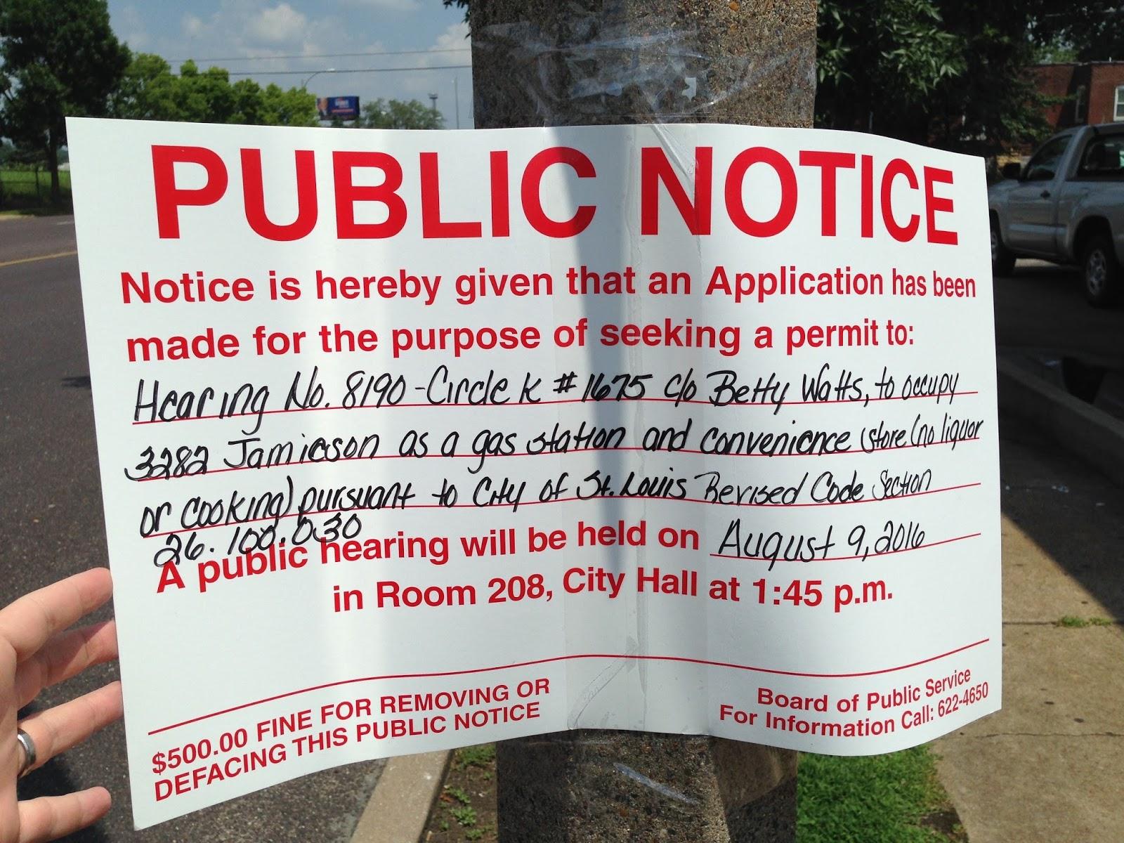 Jamieson and Fyler: Public Notice -- Circle K Public Hearing