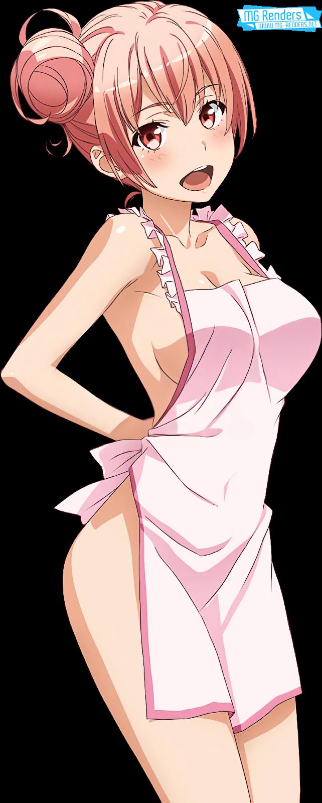 Tags: Anime, Render,  Hadaka Apron,  Hair bun,  No bra,  No panties,  Yahari Ore no Seishun Love Come wa Machigatteiru,  Yuigahama Yui, PNG, Image, Picture