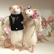 We Do!! Squeak!! Handmade Needle Felted Mice Wedding Cake Toppers Bride & Groom Mouse