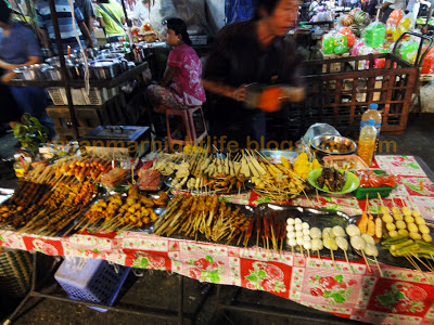 Skewer food in Yangon mainly chicken and pork