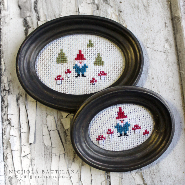 Mini Gnome Cross Stitch with Free Pattern Download - Nichola Battilana pixiehill.com