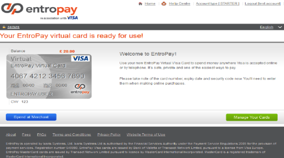 Entropay Account Visa Screen