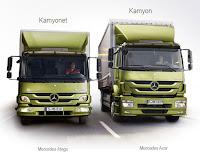 Yan yana duran fıstık yeşili kamyon ve kamyonetin önden görünüşleri