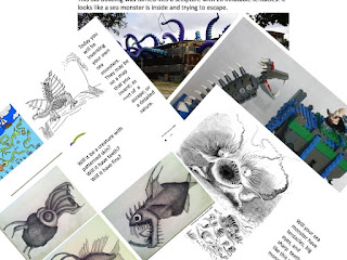 Composite photo of pages from a lesson on sea monsters and explorers