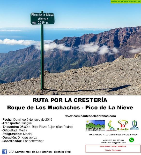Caminantes de Las Breñas, Domingo 2 de Junio: Roque de Los Muchachos-Pico de La Nieve