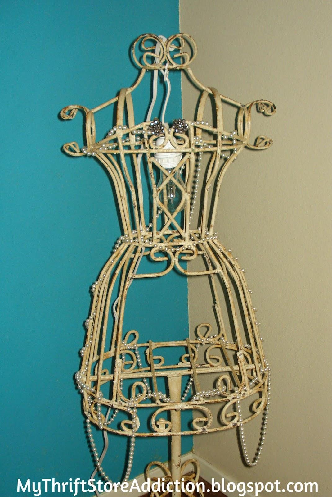 Repurposed dress form lamp