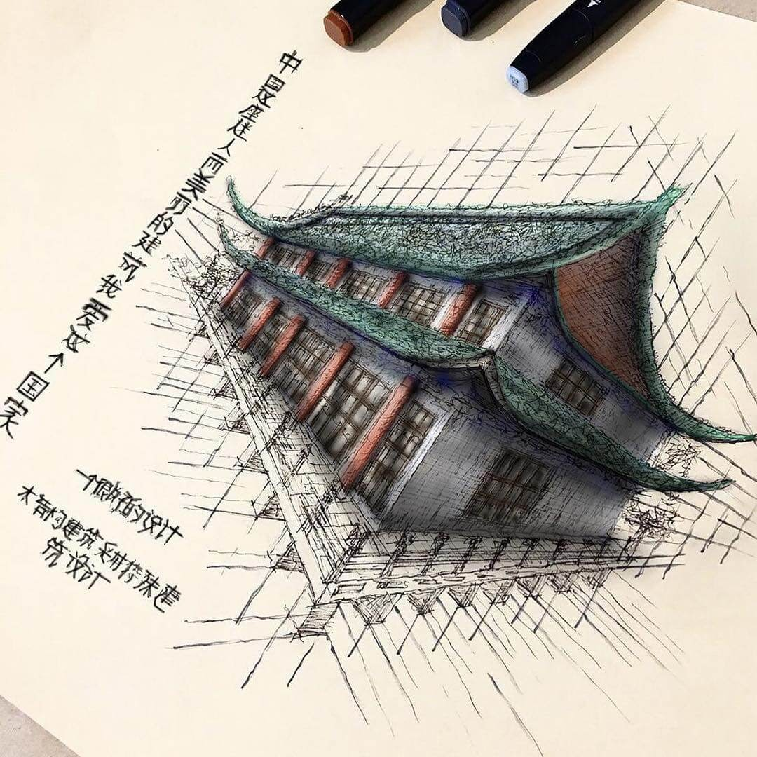 06-Chinese-Architecture-Erfan-Hasankhani-Ink-and-Color-Architectural-Drawings-www-designstack-co