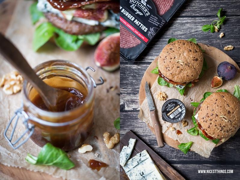 Herbst Burger mit Beef Patty, Vollkorn Buns, Gorgonzola, Walnusspesto, Feigen