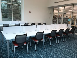 Study tables in the refreshed quiet study room