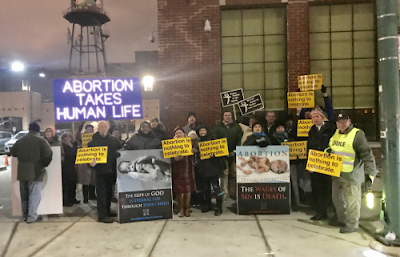 Life supporters outside Planned Parenthood's Roe vs Wade celebration - Mark Weyermuller photos