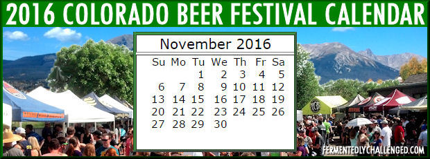 November 2016 Colorado Beer Festivals Calendar