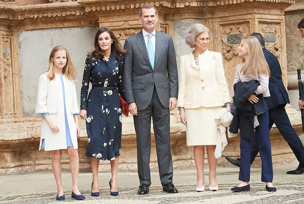 Queen Letizia wore a new floral print dress by Massimo Dutti. Crown Princess Leonor, Infanta Sofia and Queen Sofia