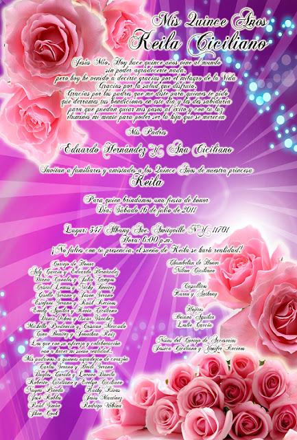 Invitación novedosa tipo pergamino para 15 años morado lila con rosas