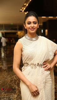 Actress Rakul Preet Singh Stills in White Dress at Winner Pre Release Function  0001.jpg
