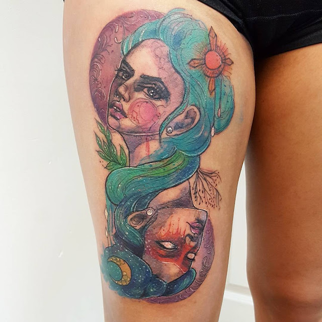Colorful Thigh Tattoos For Girls