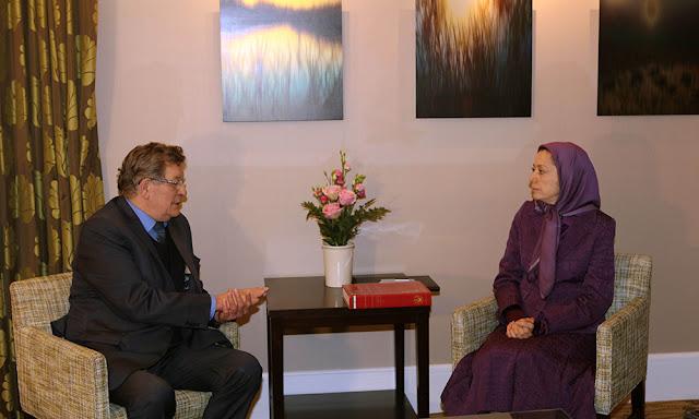 لقاء مريم رجوي برئيس مجموعة أصدقاء إيران حرة في البرلمان الأوروبي