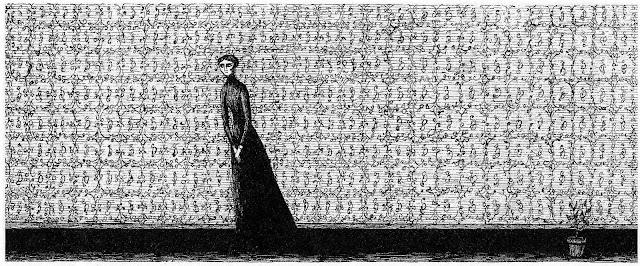 an Edward Gorey drawing of a woman at home