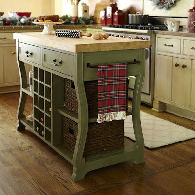 оливковый стол-остров для кухни