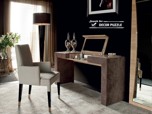 latest dressing table designs with modern upholstered chair 2018