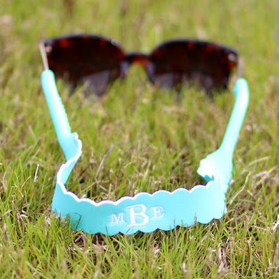monogrammed mint sunglasses straps in grass