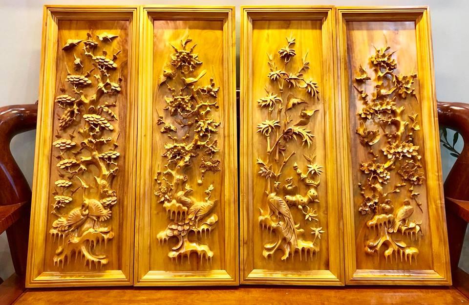 tranh tứ quý gỗ mít TRANH TỨ QUÝ GỖ MÍT tranh tứ quý gỗ mít