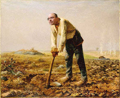 Millet's painting The Man with the Hoe with John Scalzi's head substituted