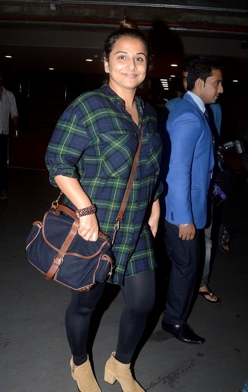 Actress Vidya Balan In Green Shirt Jeans At Mumbai Airport