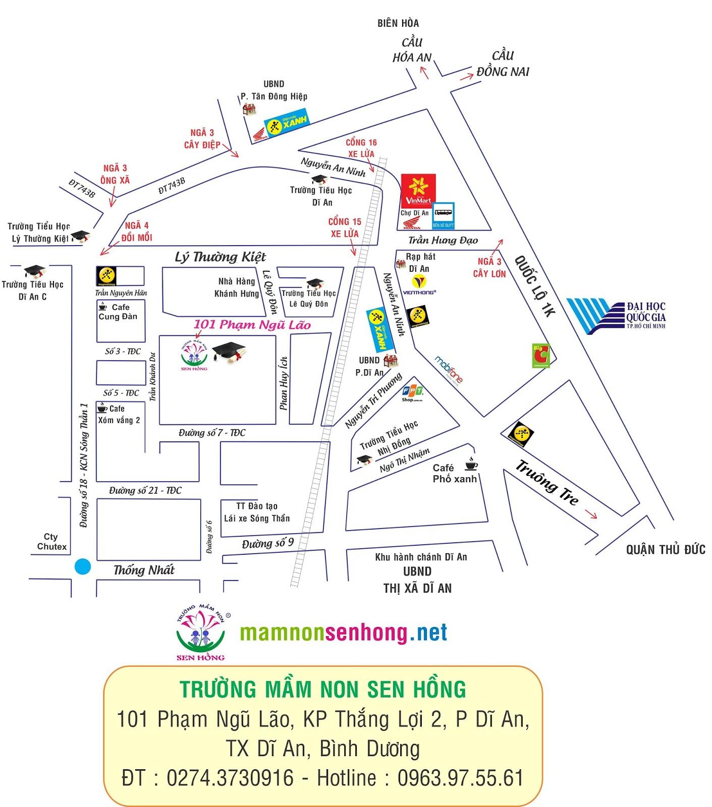 Bản đồ đến Trường Mầm non Sen Hồng