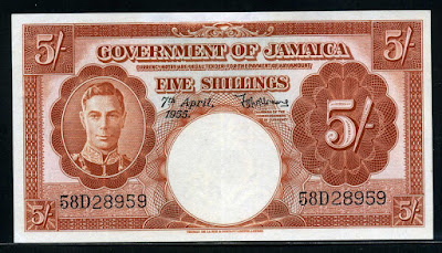 Jamaica banknotes 5 Shillings note money currency, King George VI