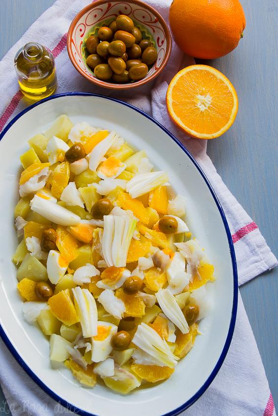 Ensalada malagueña de naranja y bacalao #sinlacteos #singluten #sinlactosa #ligera