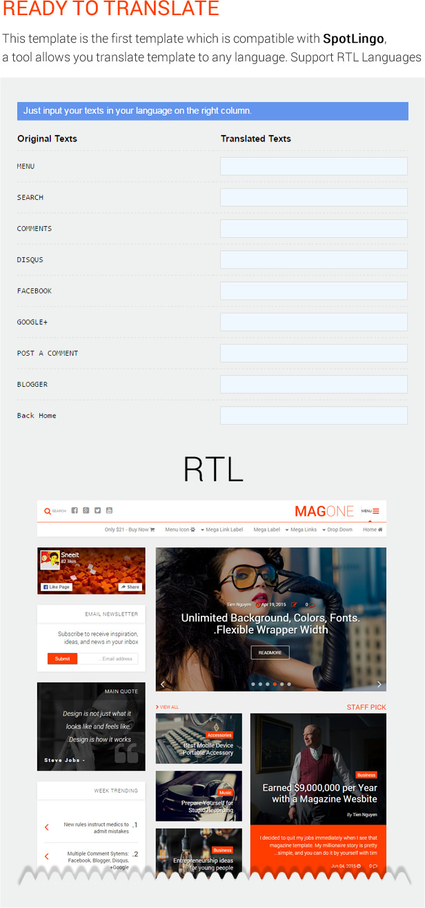 Ready To Translate - MagOne - Magazine Blogger Template
