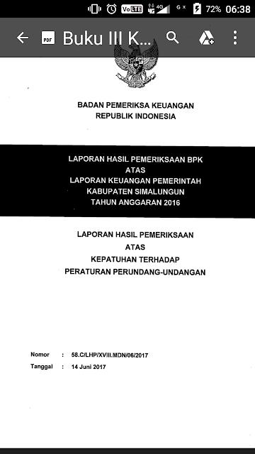 Buku pemeriksaan BPK untuk Kabupaten Simalungun.