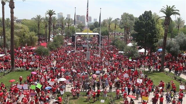 Thousands of Arizona teachers protest, demanding better pay, more public funding