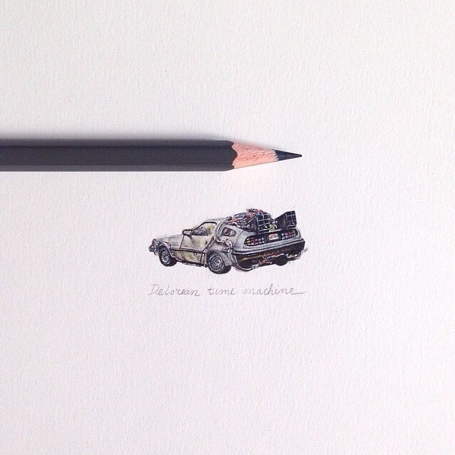 13-Back-To-The-Future-DeLorean-Claudia-Maccechini-Miniature-Tiny-Drawings-www-designstack-co