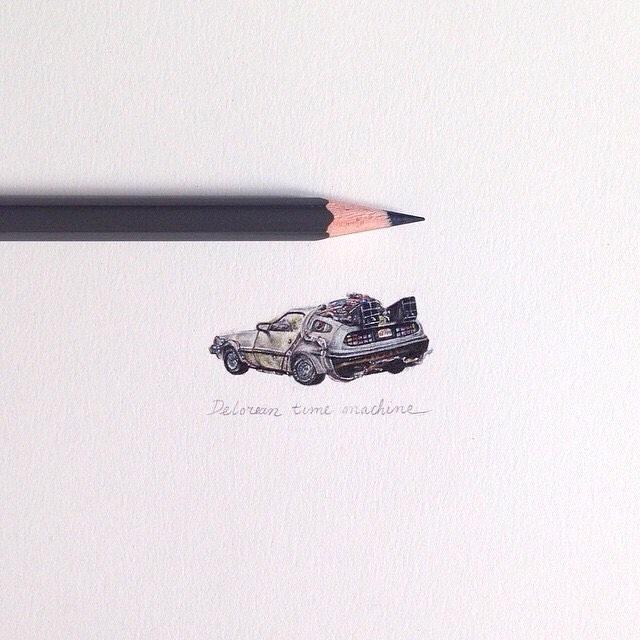 13-Back-To-The-Future-DeLorean-Claudia-Maccechini-Miniature-Tiny-Drawings-www-designstack-co