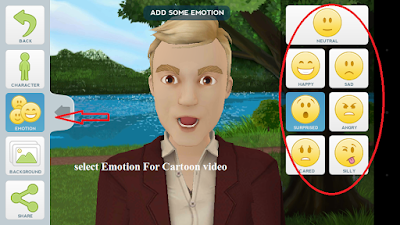 Create cartoon video on android phone with Emotion feeling charector