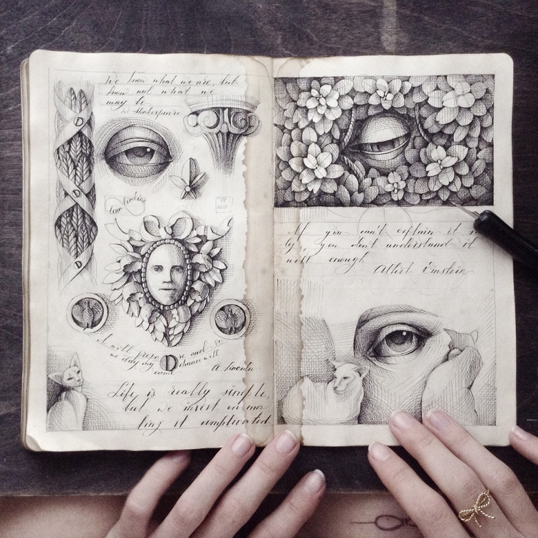 05-Elena-Limkina-Moleskine-Illustration-Adorned-with-Lovely-Calligraphy-www-designstack-co
