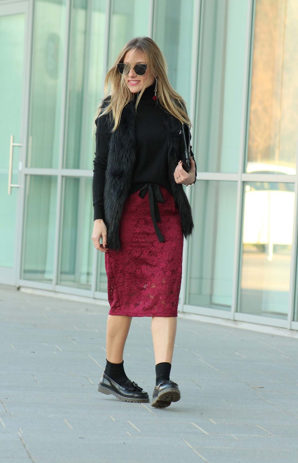 Eniwhere Fashion - Burgundy skirt Coto Privado