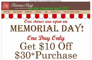free Fannie May coupons april 2017