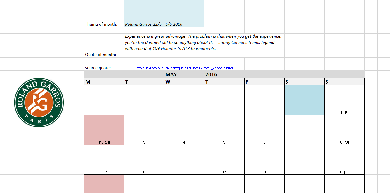 Atp Calendar.Excel Examples For Your Work Sports And More Month Calendar For