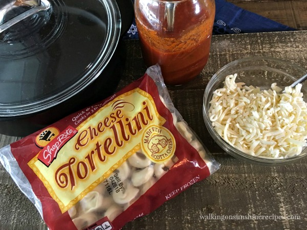 Ingredients for Cheesy Baked Tortellini Casserole from Walking on Sunshine.