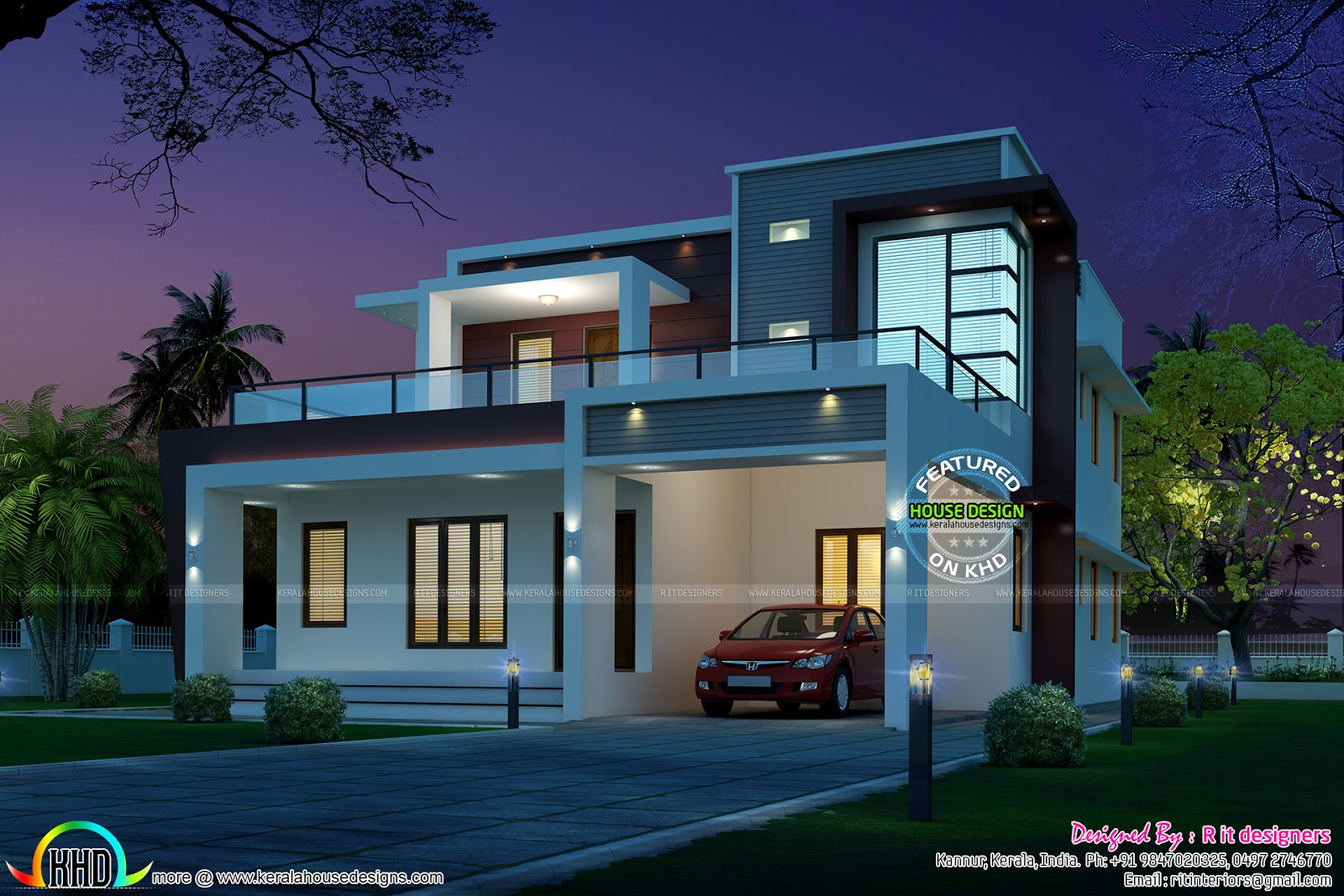245 sq m modern home night view kerala home design and for Modern house view