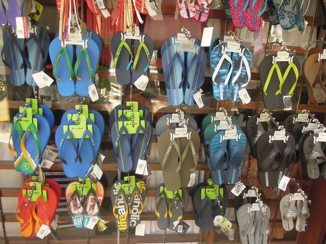 Slippers being sold at D' Talipapa Market in Boracay