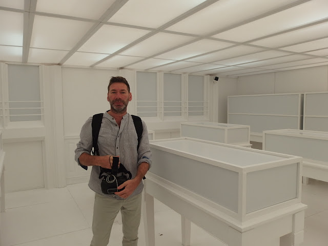 Mat Collishaw in the room where his virtual world is created
