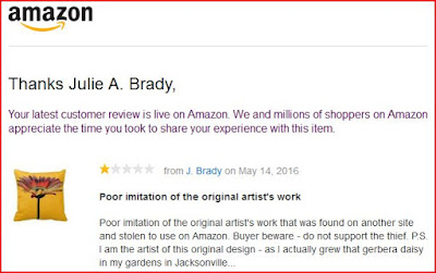 Amazon one star product review of products featuring stolen Zazzle art